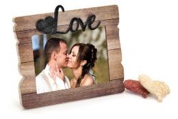 Svadobný drevený fotorámik s aplikáciou FOREVER LOVE 18x13cm