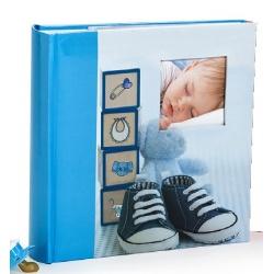 Detský zasúvací fotoalbum 10x15/200 foto GLOW modrý