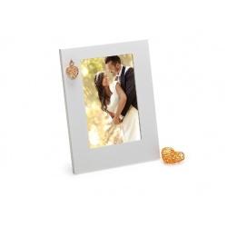 Drevený svadobný fotorámik GOLDEN HEART 10x15