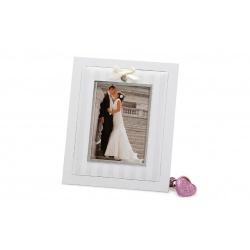 Svadobný drevený fotorámik s aplikáciou NOW 13x18 biely