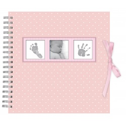 Detský špirálový fotoalbum BABY POLKA DOT ružový